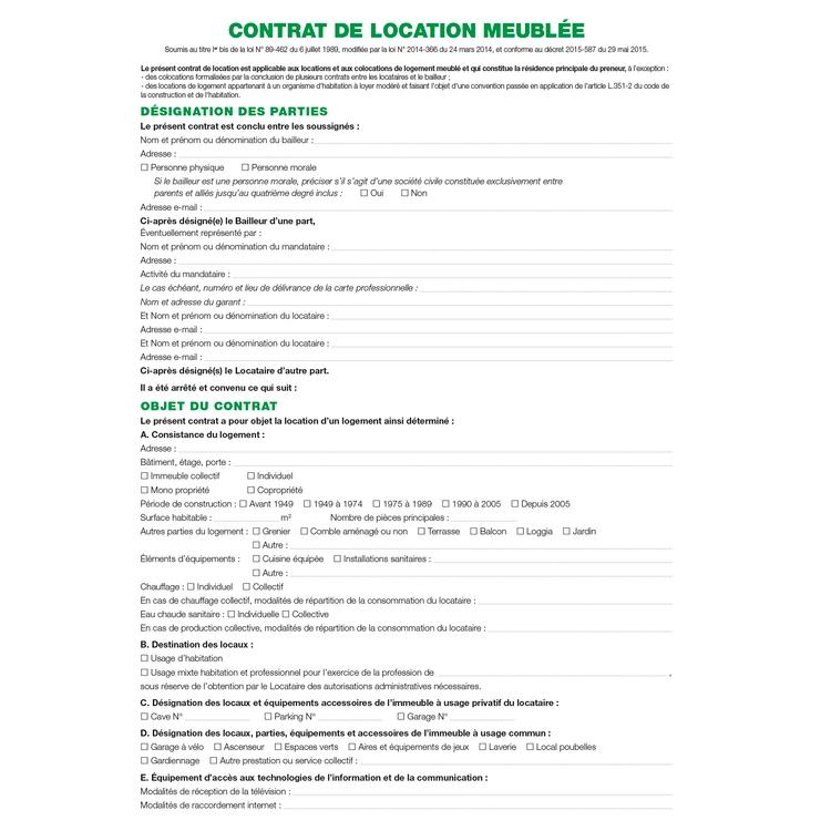 Contrat de location locaux meubl s exacompta 51e az - Bail de colocation gratuit ...